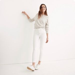 """NWT Madewell mid-rise 9"""" jeans pure white size 32"""